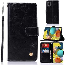 Luxury Retro Leather Wallet Case for Samsung Galaxy A51 5G - Black