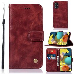 Luxury Retro Leather Wallet Case for Samsung Galaxy A51 5G - Wine Red