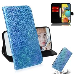 Laser Circle Shining Leather Wallet Phone Case for Samsung Galaxy A51 5G - Blue