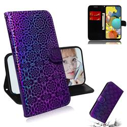 Laser Circle Shining Leather Wallet Phone Case for Samsung Galaxy A51 5G - Purple