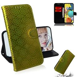 Laser Circle Shining Leather Wallet Phone Case for Samsung Galaxy A51 5G - Golden
