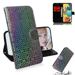 Laser Circle Shining Leather Wallet Phone Case for Samsung Galaxy A51 5G - Silver