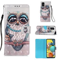 Sweet Gray Owl 3D Painted Leather Wallet Case for Samsung Galaxy A51 5G