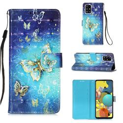 Gold Butterfly 3D Painted Leather Wallet Case for Samsung Galaxy A51 5G