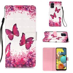 Rose Butterfly 3D Painted Leather Wallet Case for Samsung Galaxy A51 5G