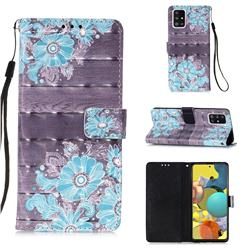 Blue Flower 3D Painted Leather Wallet Case for Samsung Galaxy A51 5G