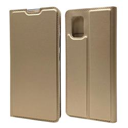 Ultra Slim Card Magnetic Automatic Suction Leather Wallet Case for Samsung Galaxy A51 5G - Champagne