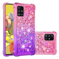 Rainbow Gradient Liquid Glitter Quicksand Sequins Phone Case for Samsung Galaxy A51 5G - Pink Purple