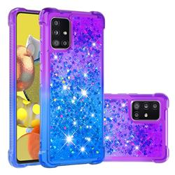 Rainbow Gradient Liquid Glitter Quicksand Sequins Phone Case for Samsung Galaxy A51 5G - Purple Blue