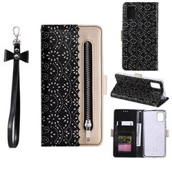 Luxury Lace Zipper Stitching Leather Phone Wallet Case for Samsung Galaxy A51 5G - Black