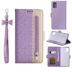 Luxury Lace Zipper Stitching Leather Phone Wallet Case for Samsung Galaxy A51 5G - Purple