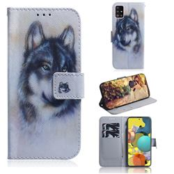 Snow Wolf PU Leather Wallet Case for Samsung Galaxy A51 5G