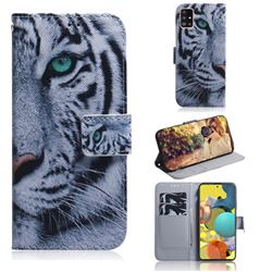 White Tiger PU Leather Wallet Case for Samsung Galaxy A51 5G