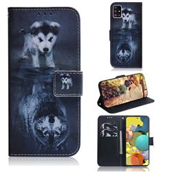 Wolf and Dog PU Leather Wallet Case for Samsung Galaxy A51 5G
