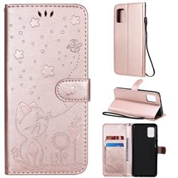 Embossing Bee and Cat Leather Wallet Case for Samsung Galaxy A51 5G - Rose Gold