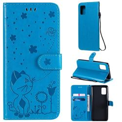 Embossing Bee and Cat Leather Wallet Case for Samsung Galaxy A51 5G - Blue