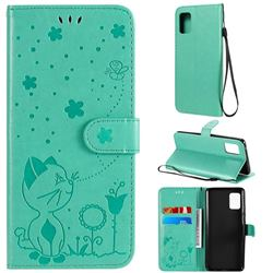 Embossing Bee and Cat Leather Wallet Case for Samsung Galaxy A51 5G - Green