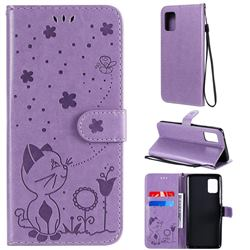 Embossing Bee and Cat Leather Wallet Case for Samsung Galaxy A51 5G - Purple