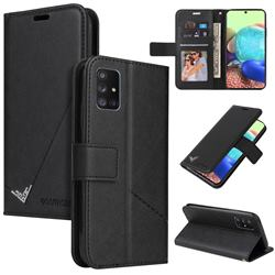 GQ.UTROBE Right Angle Silver Pendant Leather Wallet Phone Case for Samsung Galaxy A51 5G - Black