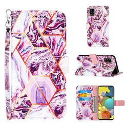 Dream Purple Stitching Color Marble Leather Wallet Case for Samsung Galaxy A51 5G