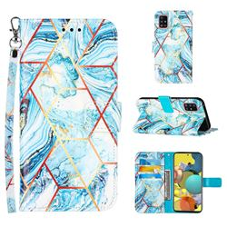 Lake Blue Stitching Color Marble Leather Wallet Case for Samsung Galaxy A51 5G