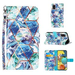 Green and Blue Stitching Color Marble Leather Wallet Case for Samsung Galaxy A51 5G