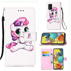 Playful Pony Matte Leather Wallet Phone Case for Samsung Galaxy A51 5G