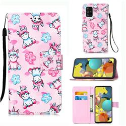 Unicorn and Flowers Matte Leather Wallet Phone Case for Samsung Galaxy A51 5G