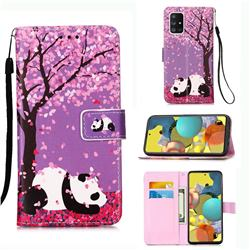 Cherry Blossom Panda Matte Leather Wallet Phone Case for Samsung Galaxy A51 5G