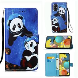 Undersea Panda Matte Leather Wallet Phone Case for Samsung Galaxy A51 5G