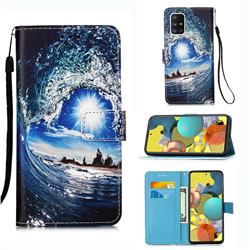 Waves and Sun Matte Leather Wallet Phone Case for Samsung Galaxy A51 5G