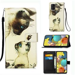 Cat Confrontation Matte Leather Wallet Phone Case for Samsung Galaxy A51 5G