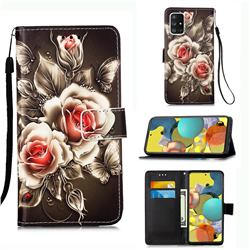 Black Rose Matte Leather Wallet Phone Case for Samsung Galaxy A51 5G