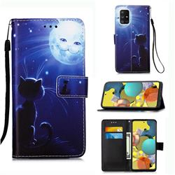 Cat and Moon Matte Leather Wallet Phone Case for Samsung Galaxy A51 5G
