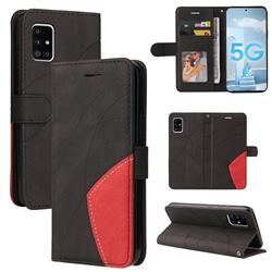Luxury Two-color Stitching Leather Wallet Case Cover for Samsung Galaxy A51 5G - Black