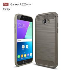 Luxury Carbon Fiber Brushed Wire Drawing Silicone TPU Back Cover for Samsung Galaxy A5 2017 A520 (Gray)