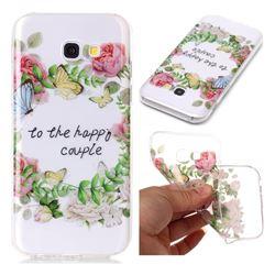 Green Leaf Rose Super Clear Soft TPU Back Cover for Samsung Galaxy A5 2017 A520