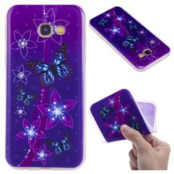 Butterfly Flowers 3D Relief Matte Soft TPU Back Cover for Samsung Galaxy A5 2017 A520