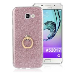Luxury Soft TPU Glitter Back Ring Cover with 360 Rotate Finger Holder Buckle for Samsung Galaxy A5 2017 A520 - Pink