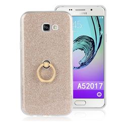 Luxury Soft TPU Glitter Back Ring Cover with 360 Rotate Finger Holder Buckle for Samsung Galaxy A5 2017 A520 - Golden