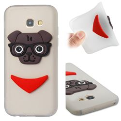 Glasses Dog Soft 3D Silicone Case for Samsung Galaxy A5 2017 A520 - Translucent White