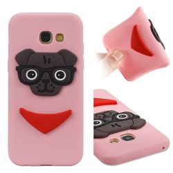 Glasses Dog Soft 3D Silicone Case for Samsung Galaxy A5 2017 A520 - Pink