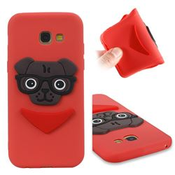 Glasses Dog Soft 3D Silicone Case for Samsung Galaxy A5 2017 A520 - Red