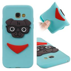 Glasses Dog Soft 3D Silicone Case for Samsung Galaxy A5 2017 A520 - Sky Blue