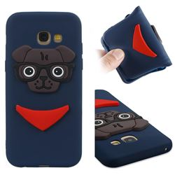 Glasses Dog Soft 3D Silicone Case for Samsung Galaxy A5 2017 A520 - Navy