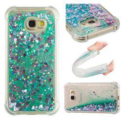 Dynamic Liquid Glitter Sand Quicksand TPU Case for Samsung Galaxy A5 2017 A520 - Green Love Heart