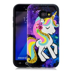 Rainbow Horse Pattern 2 in 1 PC + TPU Glossy Embossed Back Cover for Samsung Galaxy A5 2017 A520