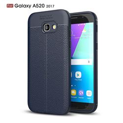 Luxury Auto Focus Litchi Texture Silicone TPU Back Cover for Samsung Galaxy A5 2017 A520 - Dark Blue