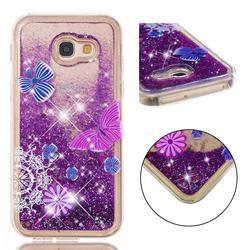 Purple Flower Butterfly Dynamic Liquid Glitter Quicksand Soft TPU Case for Samsung Galaxy A5 2017 A520