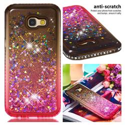 Diamond Frame Liquid Glitter Quicksand Sequins Phone Case for Samsung Galaxy A5 2017 A520 - Gray Pink